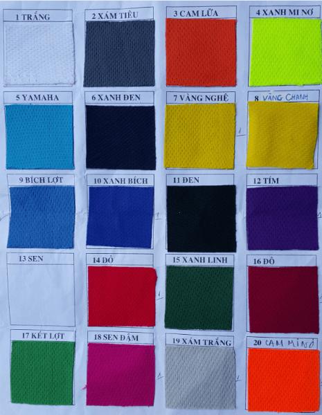 bảng màu vải